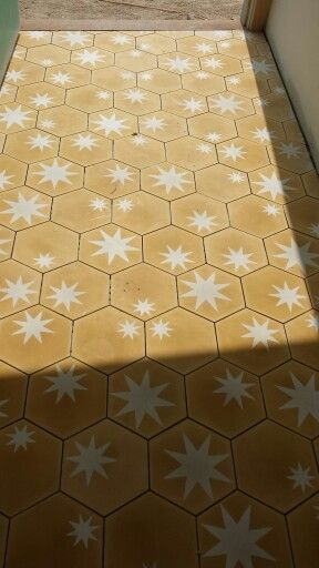 Just laid enrty statement...clients home...beachfront @ Salt  just north of byron bay ...cant wait till its cleaned and grouted...with love from popham and beach house tile studio...hexagonal marrocan encaustic cement tiles..hex star yolk/milk