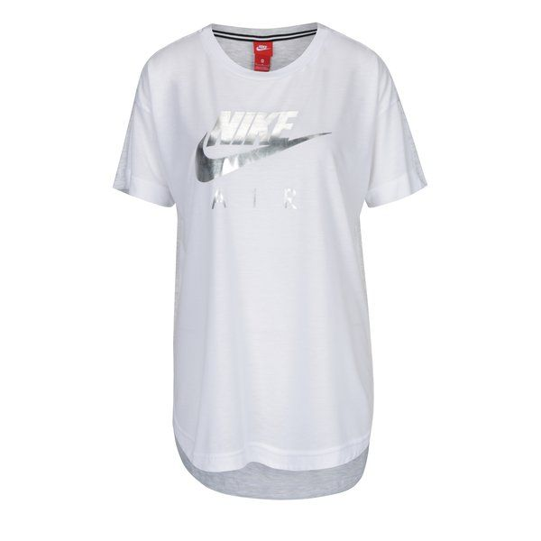 Tricou alb cu gri cu terminație rotunjită pentru femei Nike Sportswear Air