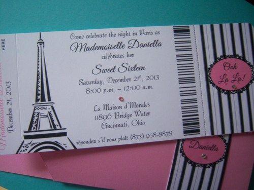 Passport to Paris Sweet 16 Quinceañera Birthday Party Invitations | suncitypartycreations - Wedding on ArtFire