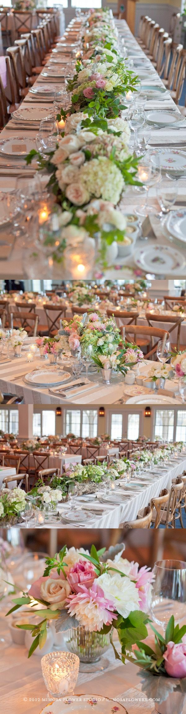 An Elegant Cottage Country Wedding - like the center pieces running down the table + silver vases