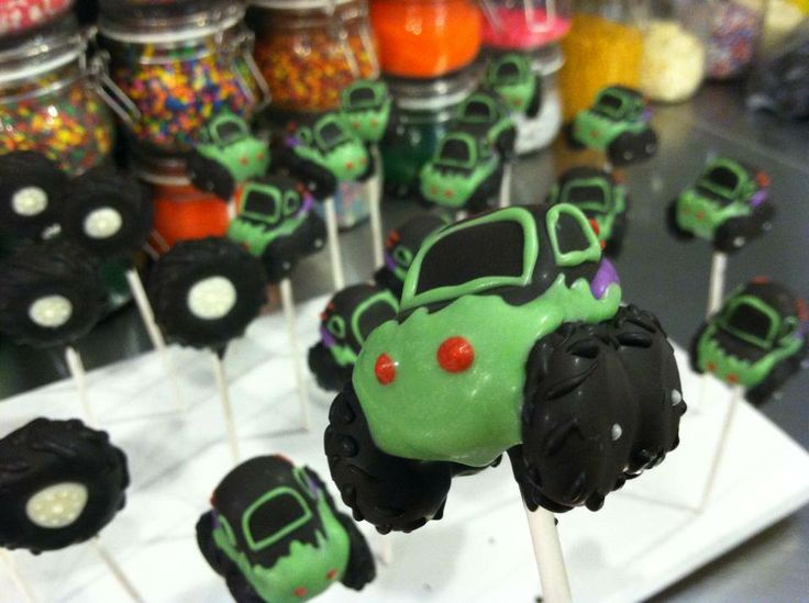 Monster Truck cake-pop red bank, nj  Give us a call to place your order 732.383.5602  Lil Cutie Pops in Red Bank New Jersey #cakepop #party ORDER ONLINE: http://squ.re/1ByCj5S