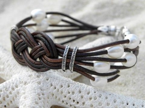Nautical Pearl Leather and Sterling Silver Bracelet by TANGRA2009, $89.00