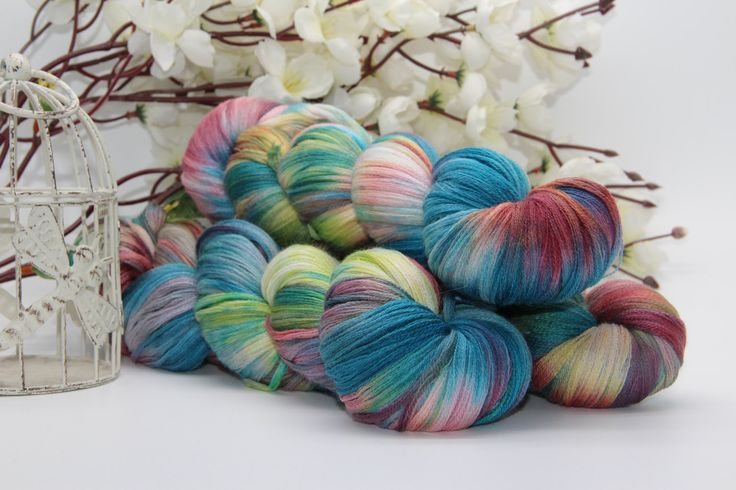 Hand dyeing,  Merino/Cashmere/silk, 284 yards/260 meters,  caprice by PositiveCreative on Etsy