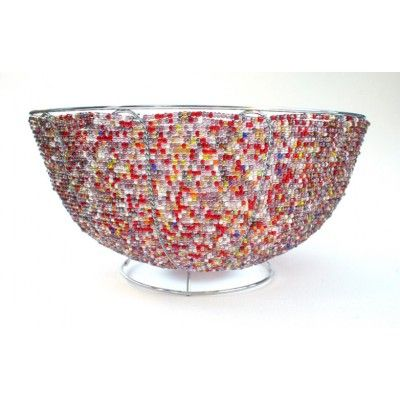 Multicolored  Wire Beaded Art Bowl