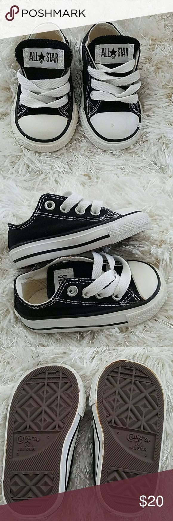 Black low top converse Black low top converse. Good condition. Worn by non walker. Glue is turning a color on bottom of shoe, picture reflects, other than that shoes are in amazing condition, it's on the bottom so u can't see it Converse Shoes