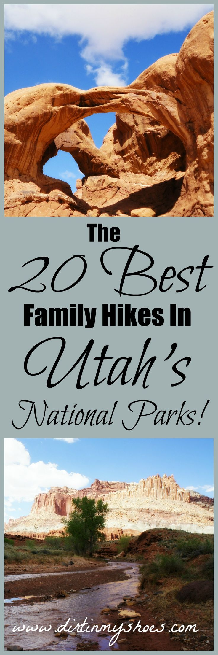 I'm on a mission to help every family find their favorite trail in Utah's National Parks! This list includes hikes from Arches, Canyonlands, Capitol Reef, Bryce Canyon, and Zion! || Dirt In My Shoes