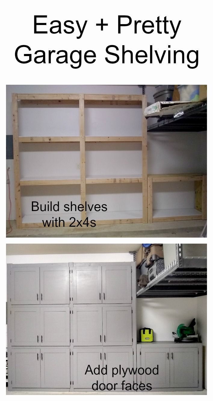 DIY garage shelves with doors #WoodworkingProjectsGarage #remodelinggarage