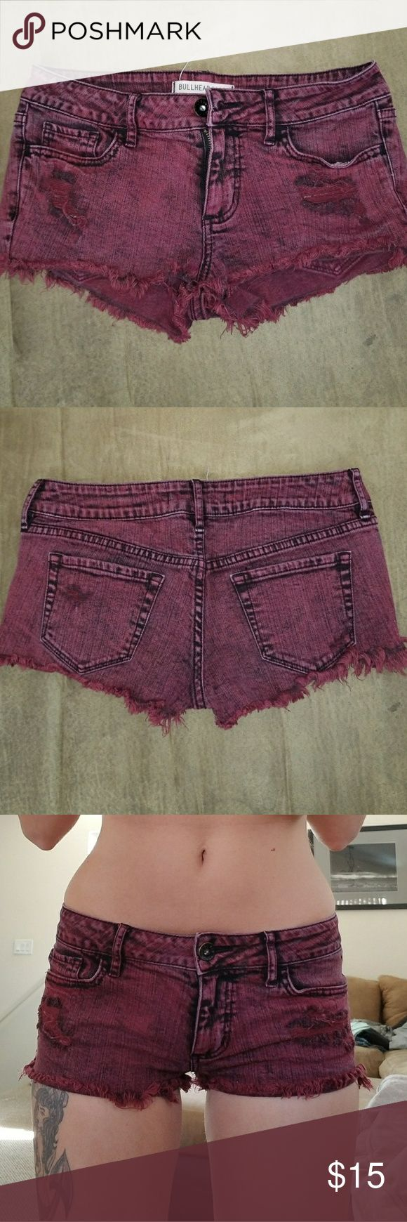 Maroon Shorts Cute maroon shorties from PacSun.  Rad with black or white crochet top!  I wear a 26. These are marked as a 3 Bullhead Shorts Jean Shorts