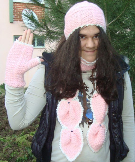 Pink Knit Women Beanie Glove and Scarf Set With Eye by earflaphats, $59.99
