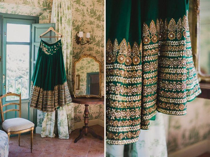 Sabyasachi green wedding lengha