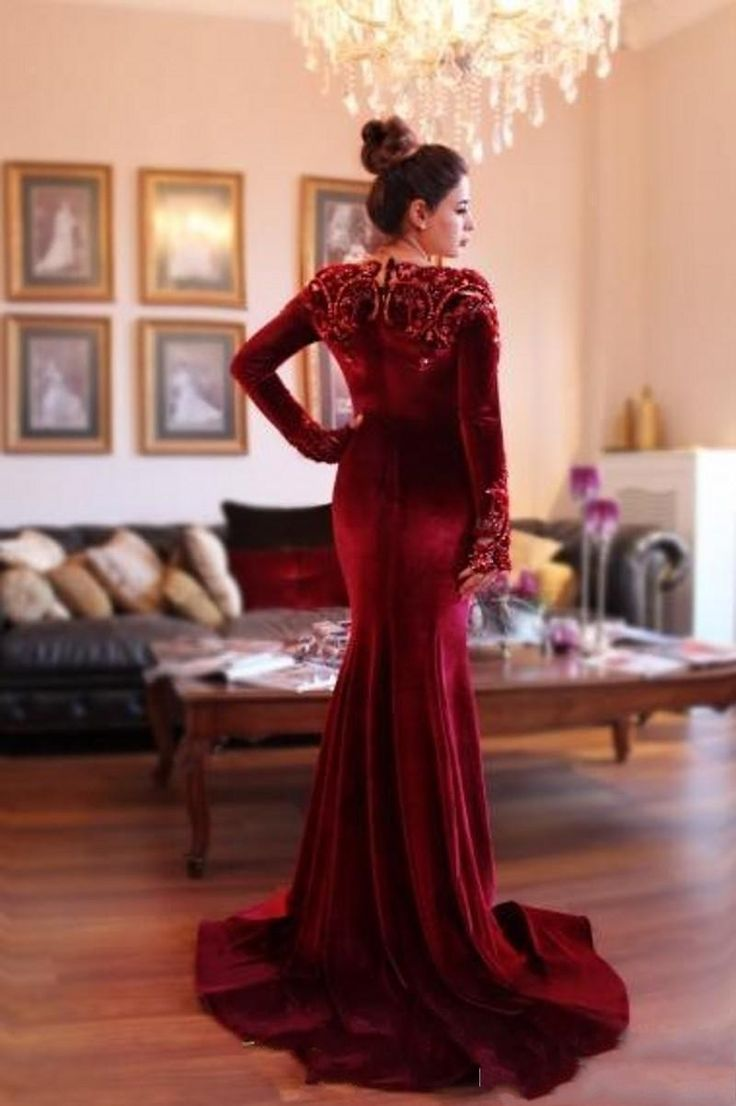 Prom dress new arrival 2016 mermaid pageant dress emerald green - 2016 Modest With Sleeved Formal Evening Dresses Arabic Beaded Collar Mermaid Burgundy Velvet Long Fit And