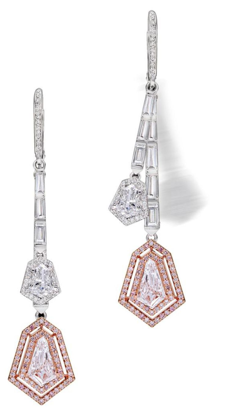 These stunning drop earrings from Genevan jewellery house Avakian are the epitome of elegant evening wear. In white gold and platinum, rows of baguette-cut diamonds descend downwards from the ear in rows, ending in four diamonds totalling 3.29 carats cut in a unique kite shape.