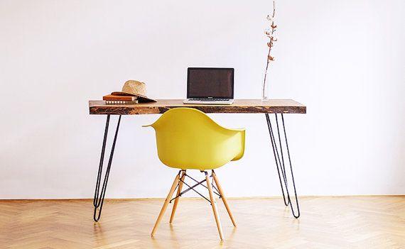 Mesa de madera reciclada, horquilla escritorio, mesa de madera maciza, mesa auxiliar, mesa de comedor, mesa de centro, mesa en acero piernas, tabla de nogal de la losa