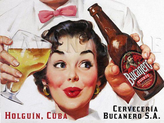 Bucanero Cuban Beer Cerveza Vintage Style Pinup Girl Art Print Poster
