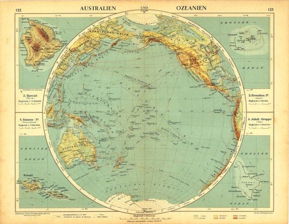 Australia and Oceania Antique Map Pacific Ocean by CarambasVintage, $25.00