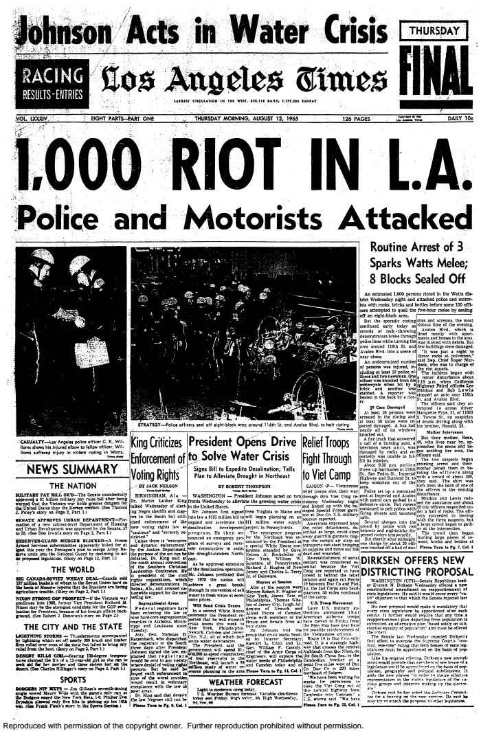"""The Times staff won a Pulitzer Prize for local spot news reporting for the paper's coverage of the Watts riots. Here's a look at the front pages during the height of the unrest in August 1965, as well a seven-part series, called """"The View From Watts,"""" which ran in October that year.  Read more:   Stunned by the Watts riots, the L.A. Times struggled to make sense of the violence  Traffic stop was the spark that ignited days of destruction in L.A.  Full coverage: Watts Riots R..."""