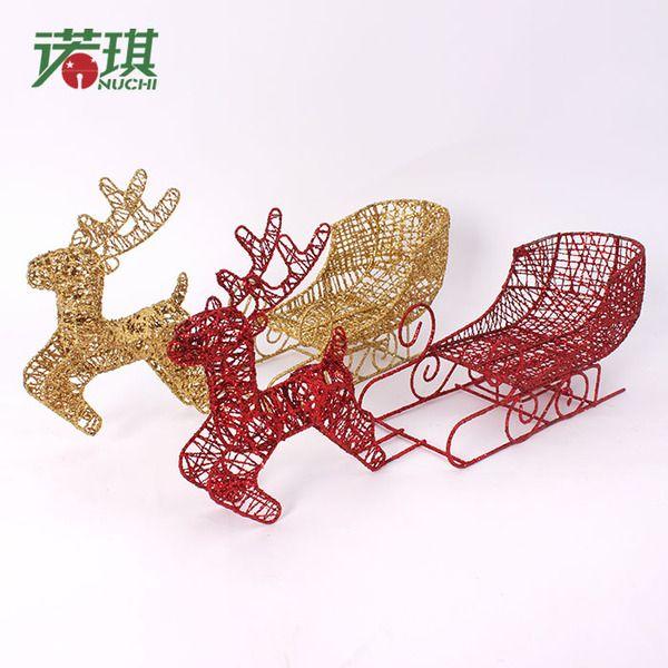 Рождественский олень из Китая :: Ночи, декоративные кованые золото и серебро блеск красный рождественские рождества оленей потянув упряжках лося рождественские 300g.