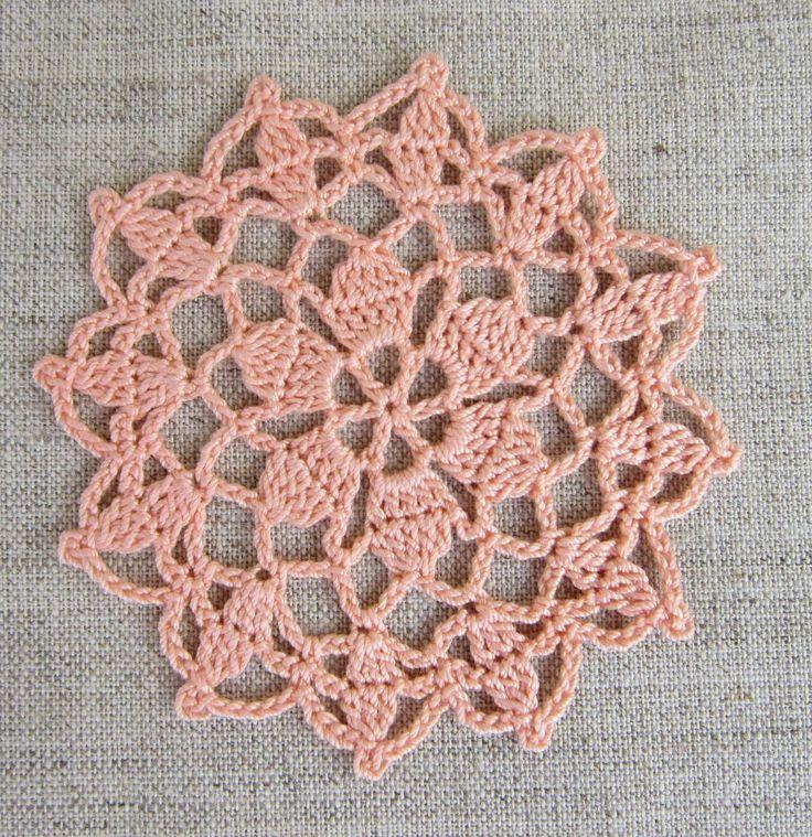 crochet peach pink coasters