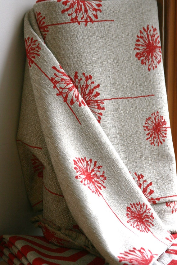 Adventurous Red/Denton Home Decor Weight Fabric by sewfinefabric, $16.50