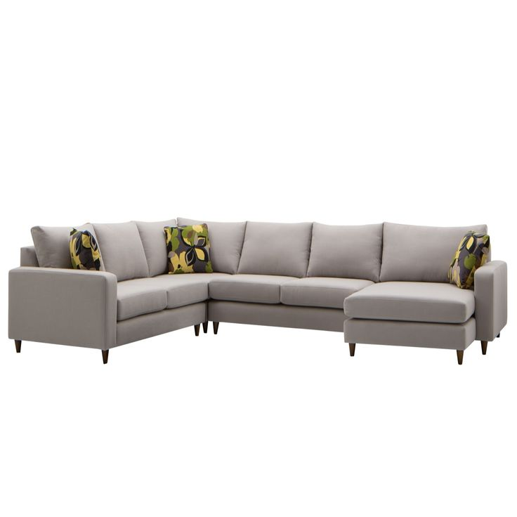 Baxter Modular Sofa With Chaise Grey Dots And Cushions