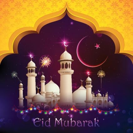 free vector beautiful mosque with eid moon celebration