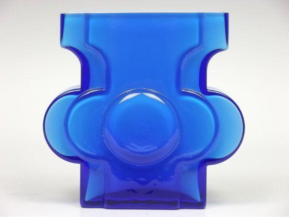 Signed Alsterfors blue glass vase by Per-Olof Ström