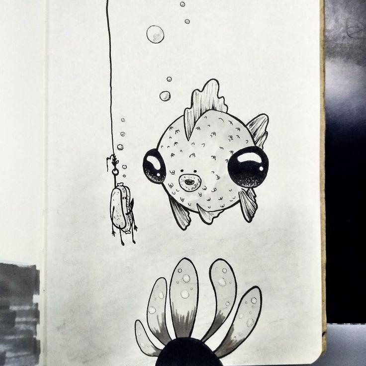#inktober #day4 #underwater #fishy #hotdog #ink #sketch