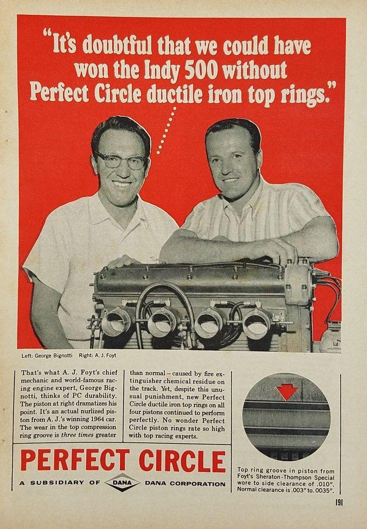 1965 Perfect Circle Piston Rings AJ Foyt Vintage Ad