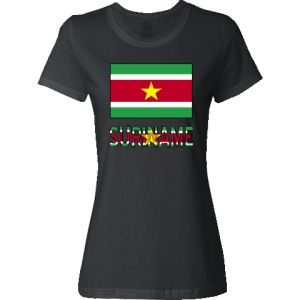 Suriname Flag & Word Jr. T-Shirt - Black | Flags of Nations or Flagnation