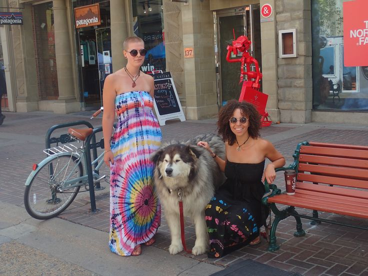Hippie chicks and dogs go together like hippie chicks and dogs! Great Maxi dress in both black and white. Love the Tie Dye girls!