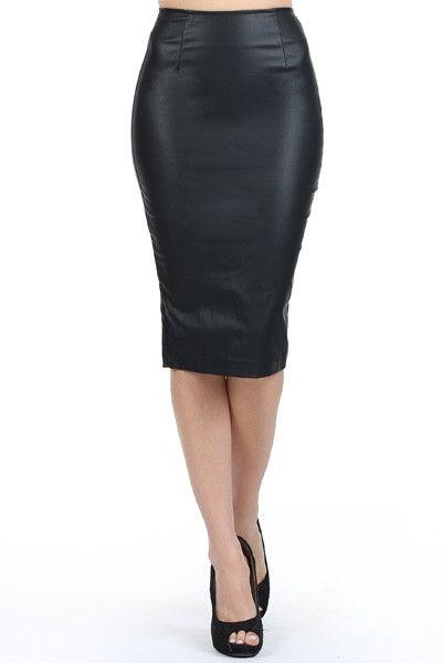 Leatherette Mid Skirt - Black