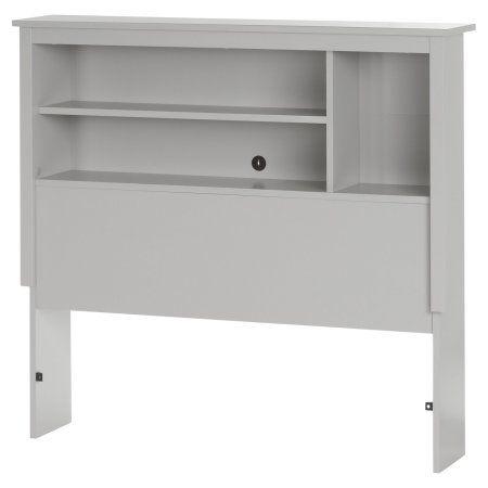 South Shore Reevo Twin Bookcase Headboard, Soft Gray