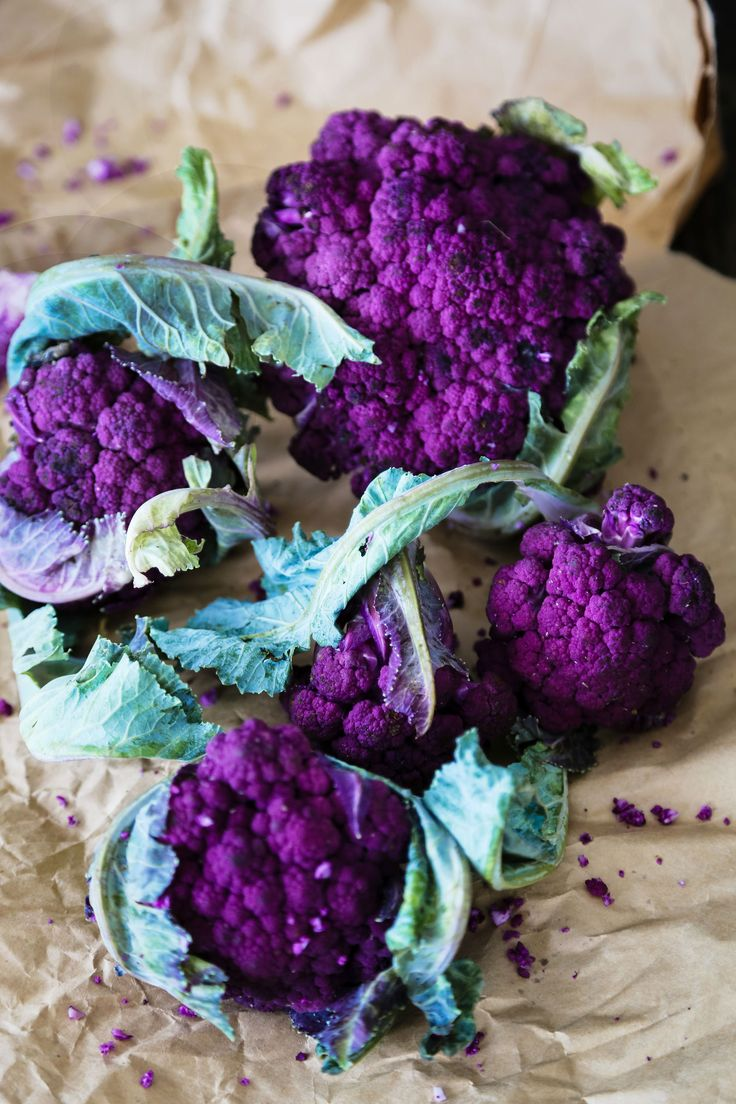 Purple cauliflower is actually a type of broccoli that is purple and turns green upon cooking. It packs the same pigments, called anthocyanins (antioxidant flavonoids) that give blueberries their gorgeous hue. Cauliflower is one of the most concentrated sources of vitamin C among cruciferous vegetables. Cruciferous vegetables can help your body get rid of the toxins that can damage cells and increase the risk of cancer.