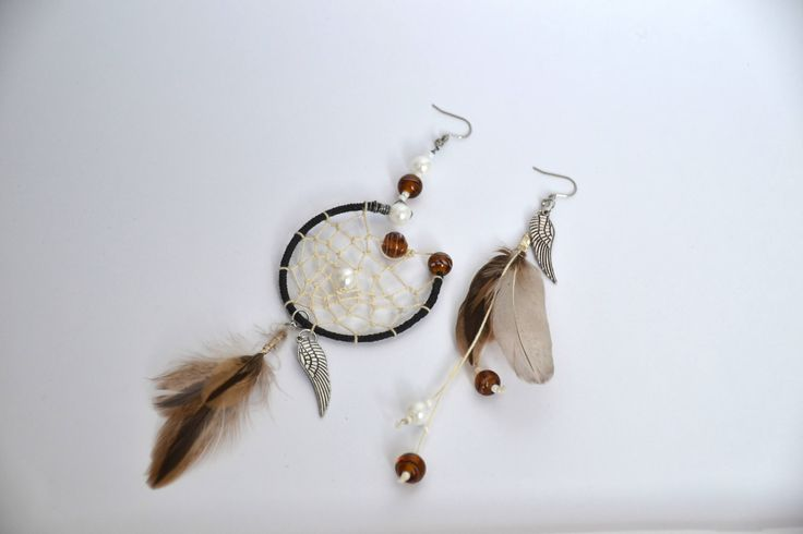 Earrings statement, dream catcher with beads and feathers