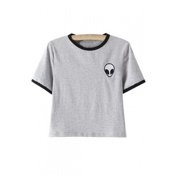 Alien Embroidery Color Block Short Sleeve Cropped Tee (€8,96) ❤ liked on Polyvore featuring tops, t-shirts, bh, crop top, cropped, short sleeve t shirt, short sleeve crop top, embroidered top, crop tee and embroidered t shirts