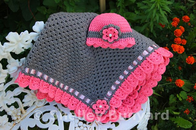 Granny Square and Ribbon Baby Blanket ~ free pattern