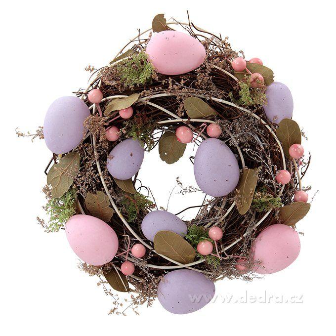 Dedra -Dekorativní věnec s fial.a růž.vajíčky   Dedra