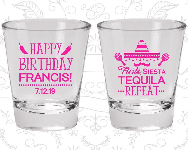 Happy Birthday Shot Glasses, Fiesta Siesta Tequila Repeat, Mexican Birthday Shot Glasses, Fiesta Birthday Shot Glasses (20030)