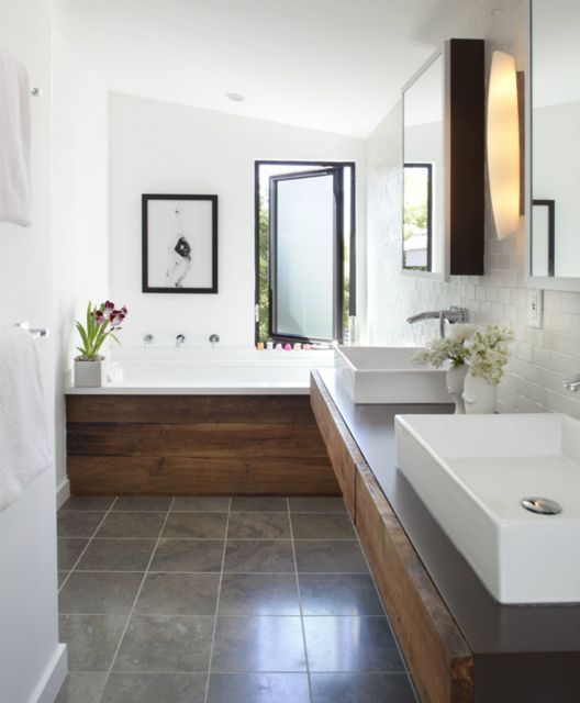 long narrow bathroom - great combination of materials: