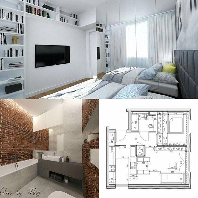 """Kolej na łazienkę i sypialnie z naszej perełki ,,Apartament dla mężczyzny"""" oraz rzut aby pokazać jak wnętrze prezentuje się w liczbach 💙 #projektantwnetrz#projekt#wnetrze#architekturawnętrz#mjakmoeszkanie#czterykaty#inspiracjie#architektura#remont#home#homedeco#homesweethome#homeinterior#homeinspiration#interiordesigner#interior"""