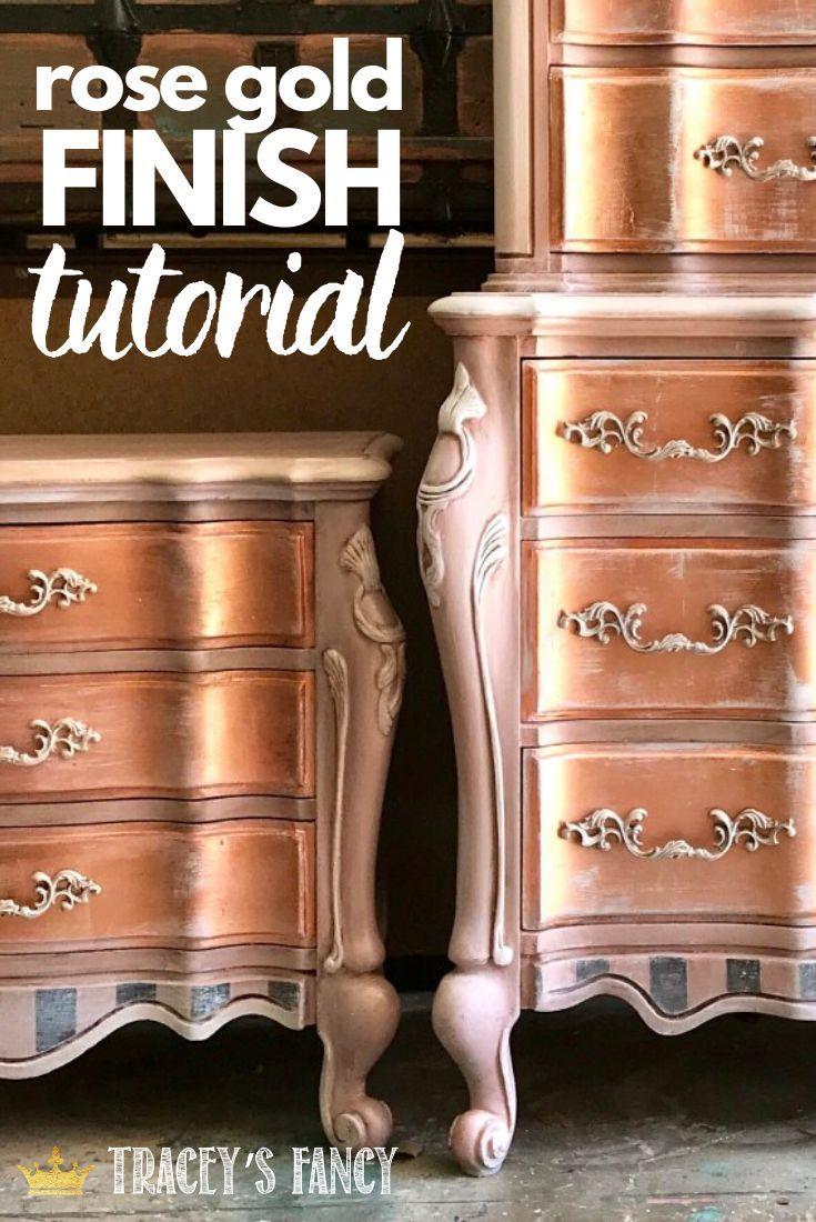 Metallic Furniture Finish Painting Tutorial In 2020 Metallic Painted Furniture Diy Furniture Finishes Metal Furniture