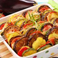 Gratin van aubergines en courgettes