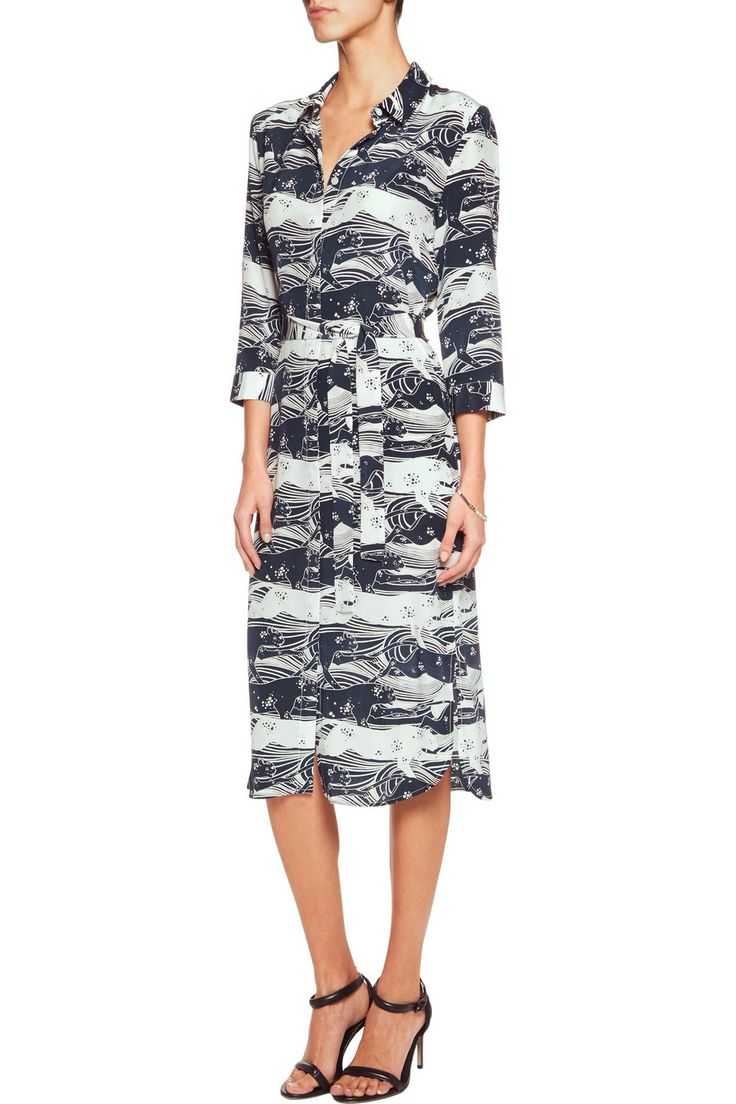 Iris and Ink Adrienne printed silk shirt dress jaguar print