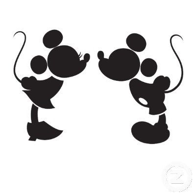 Mickey And Minnie Kissing Silhouette Decal By NerdVinyl On