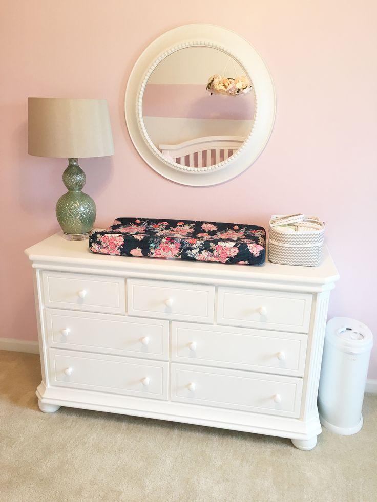 Navy and pink nursery, navy floral nursery, nursery dresser
