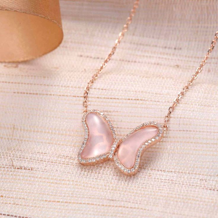 UneJoux Sterling Silver Quinn Butterfly Pendant Necklace With Rose Quartz - UneJoux