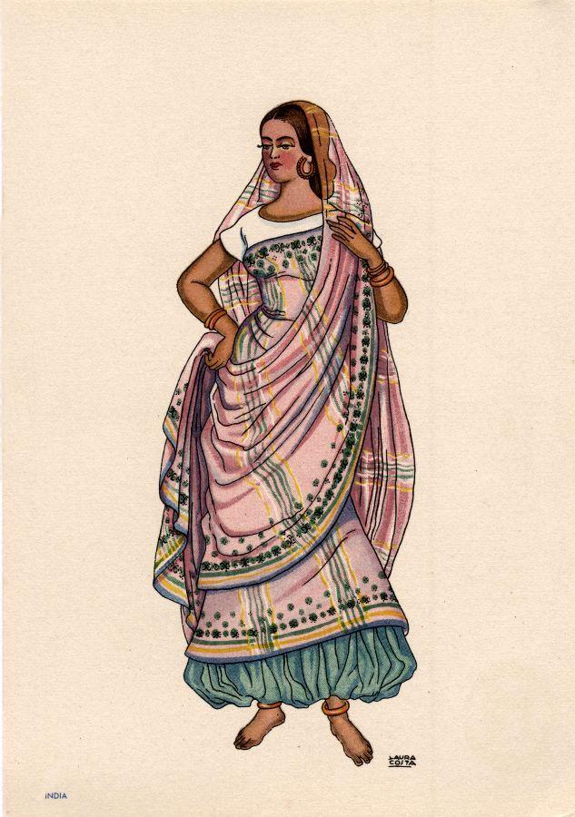 OLIVA -Sari de cores delicadas, usado sobre fartas calças de seda e blusa de mangas muito curtas. - Lit. Nacional - S/D - Dimensões: 15x10,5 cm - Colecção M. F. Silva