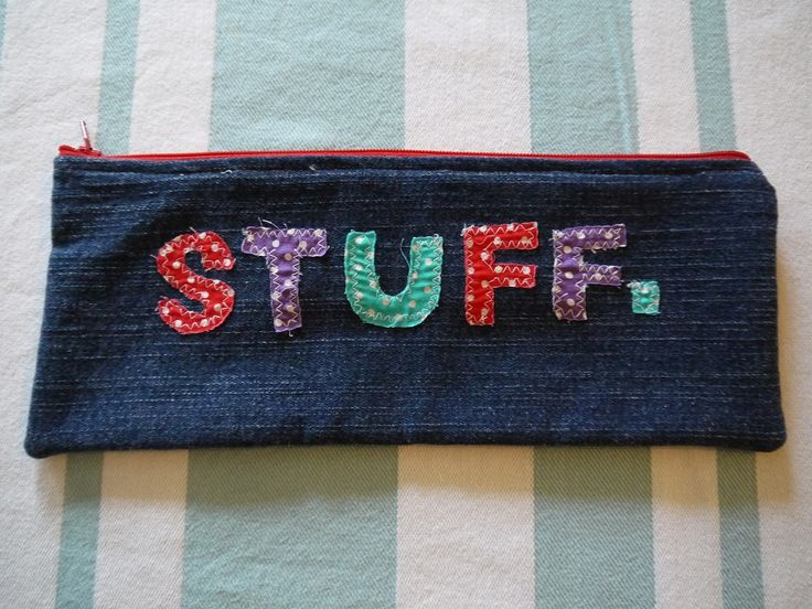 STUFF. pencil case, £6.50 Handmade very strong and durable fully lined made of denim and sturdy zip fastening
