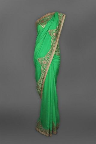 Featuring this beautiful Green georgette sari in our wide range of Saris. Grab yourself one. Now!