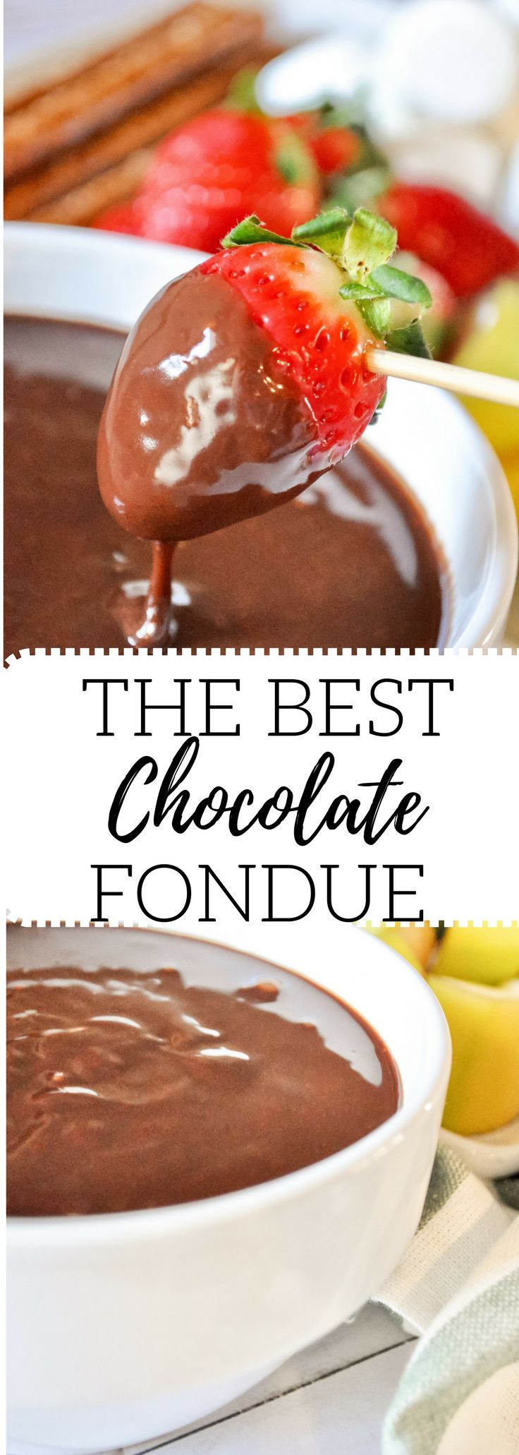 This is the easiest, best chocolate fondue recipe ever. Requested over and over again! A favorite Valentines Day treat.